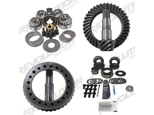 Revolution Gear & Axle Dana 30 Front Axle/44 Rear Axle Ring and Pinion Gear Kit with Master Overhaul Kit; 4.56 Gear Ratio (07-18 Jeep Wrangler JK, Excluding Rubicon)