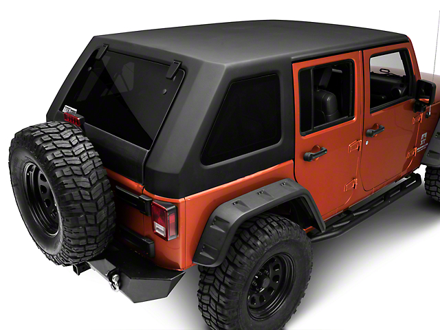 Two-Piece Slant Hard Top; Black (07-18 Jeep Wrangler JK 4 Door)