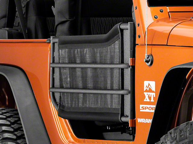 JTopsUSA Mesh Trail Door Skins for Barricade Adventure Tube Doors - Black (07-18 Wrangler JK 2 Door)