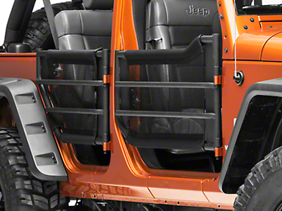 J Tops USA Black Mesh Trail Door Skins for Barricade Adventure Tube Doors (07-17 Wrangler JK 4 Door)