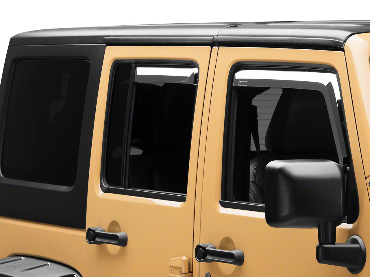 Putco Element Chrome Window Visors - Front & Rear (07-18 Jeep Wrangler JK 4 Door)
