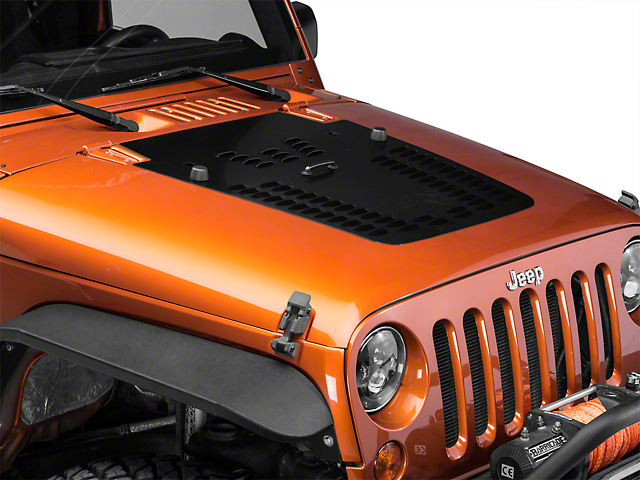 Hyline Offroad One Piece Hood Louver Panel - Semi Gloss Black (07-12 Jeep Wrangler JK)