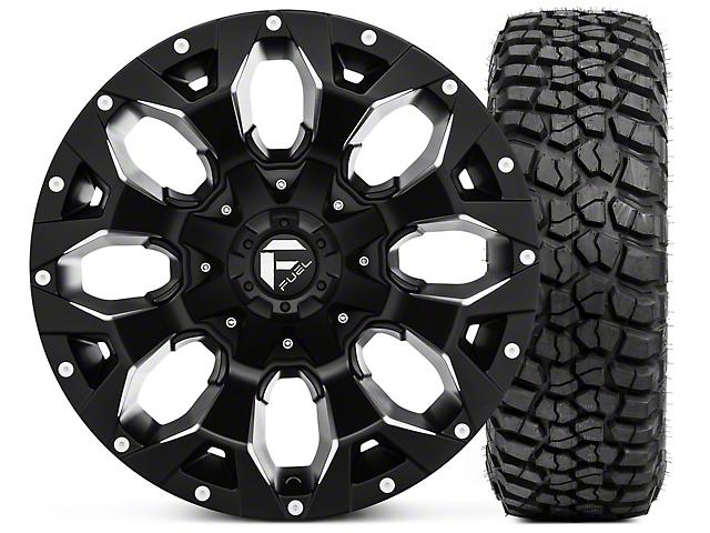 Fuel Wheels Assault Black Machined Wheel 17x9 and BF Goodrich Mud Terrain T/A KM2 265/70R17 Kit (07-18 Jeep Wrangler JK)