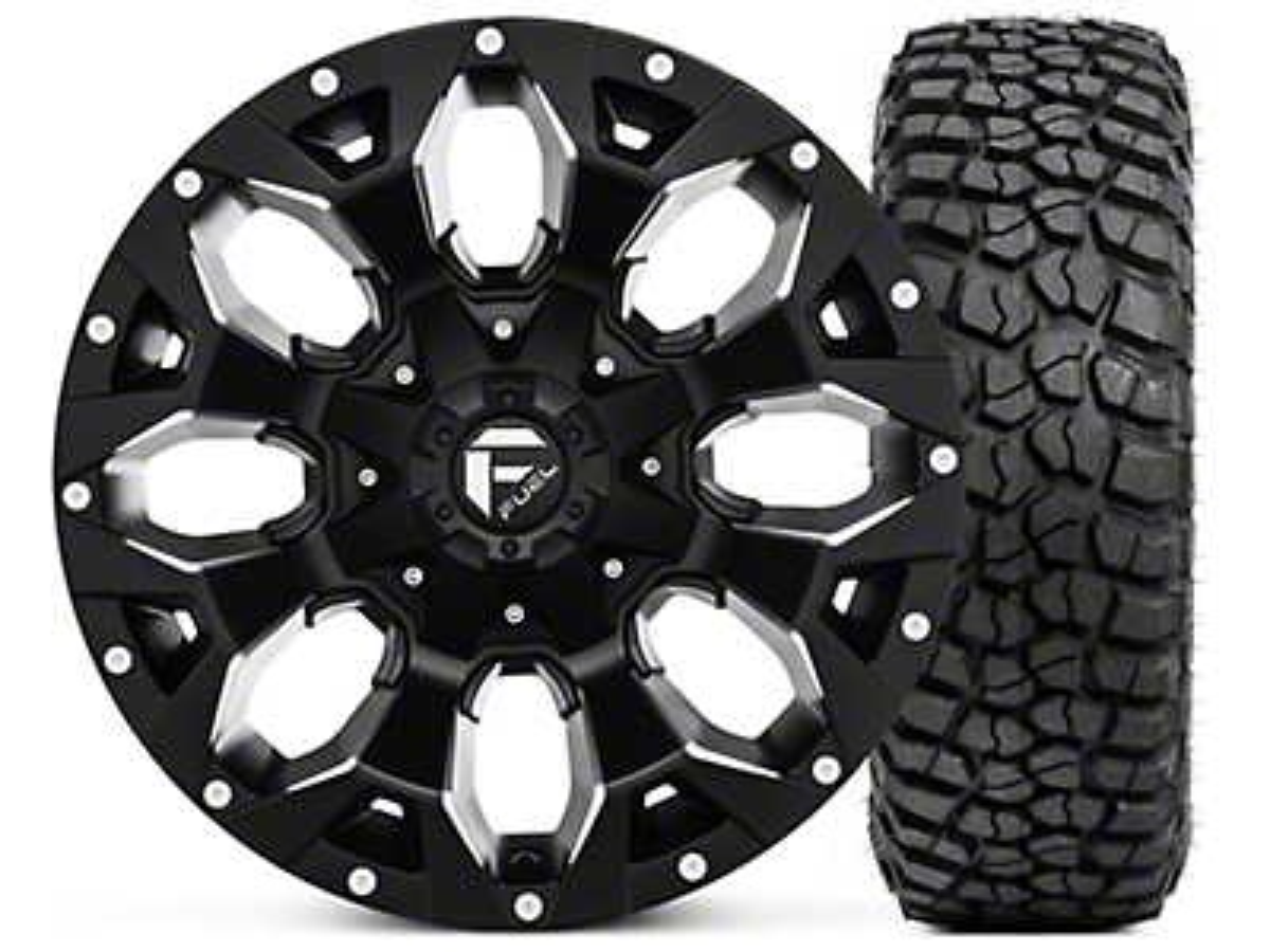 Fuel Wheels Assault Black Machined Wheel 17x9 and BF Goodrich Mud Terrain T/A KM2 265/70R17 Kit (07-18 Jeep Wrangler JK; 2018 Jeep Wrangler JL)