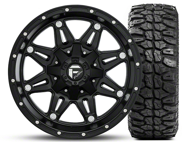 Fuel Wheels Hostage Matte Black 17x9 and Mudclaw M/T LT265/70R17 Kit (07-18 Jeep Wrangler JK; 2018 Jeep Wrangler JL)