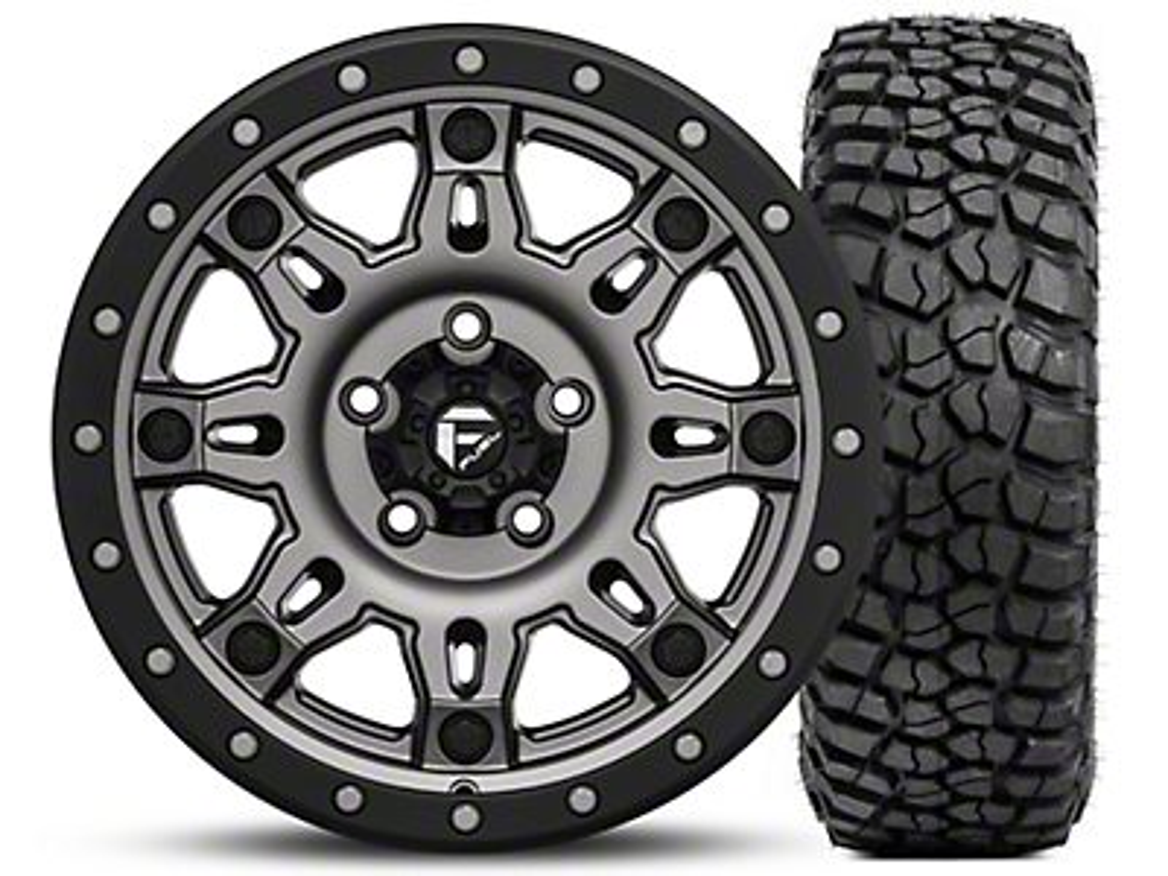 Fuel Wheels Hostage III Gunmetal and Black Wheel 17x9 and BF Goodrich Mud Terrain T/A KM2 35x12.50R17 Kit (07-18 Jeep Wrangler JK; 2018 Jeep Wrangler JL)