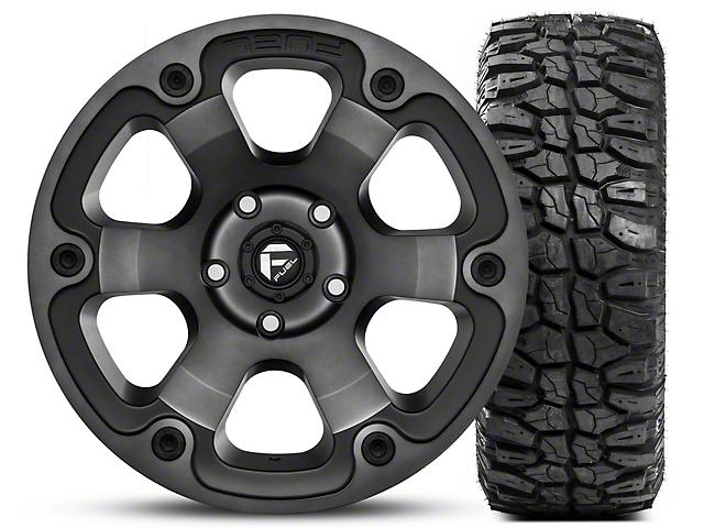 Fuel Wheels Beast Black Machined Wheel 17x9 and Mudclaw M/T LT265/70R17 Kit (07-18 Jeep Wrangler JK; 2018 Jeep Wrangler JL)