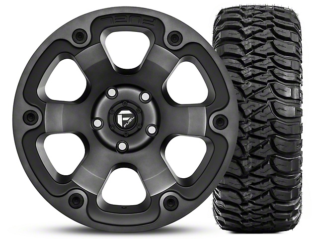 Fuel Wheels Beast Black Machined 17x9 Wheel & Mickey Thompson Baja MTZ Radial w/ OWL 305/65R17 Tire Kit (07-18 Jeep Wrangler JK)