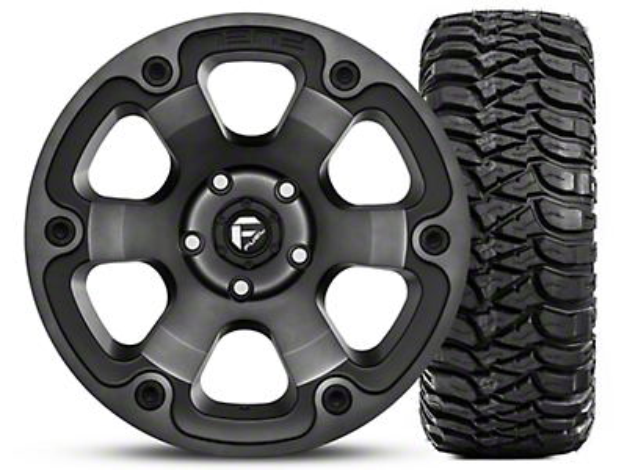 Fuel Wheels Beast Black Machined Wheel 17x9 and Mickey Thompson Baja MTZ Radial Tire w/OWL 305/65-17 Kit (07-18 Jeep Wrangler JK; 2018 Jeep Wrangler JL)