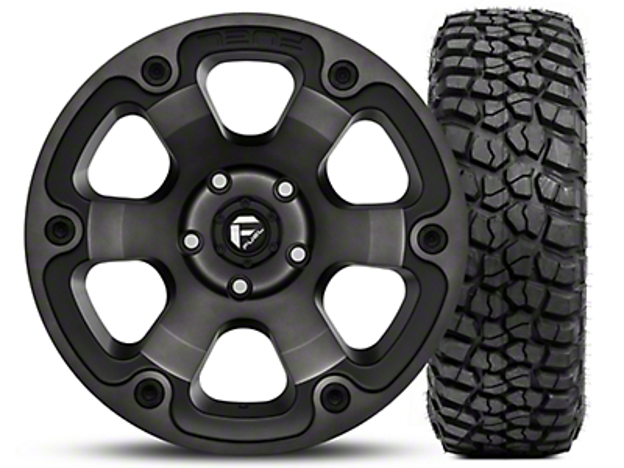 Fuel Wheels Beast Black Machined Wheel 17x9 and BF Goodrich Mud Terrain T/A KM2 35x12.50R17 Kit (07-18 Jeep Wrangler JK; 2018 Jeep Wrangler JL)