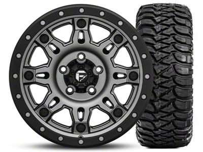 Fuel Wheels Hostage III Gunmetal & Black 17x9 Wheel & Mickey Thompson Baja MTZ Radial w/ OWL 305/65R17 Tire Kit (5) (07-18 Jeep Wrangler JK)