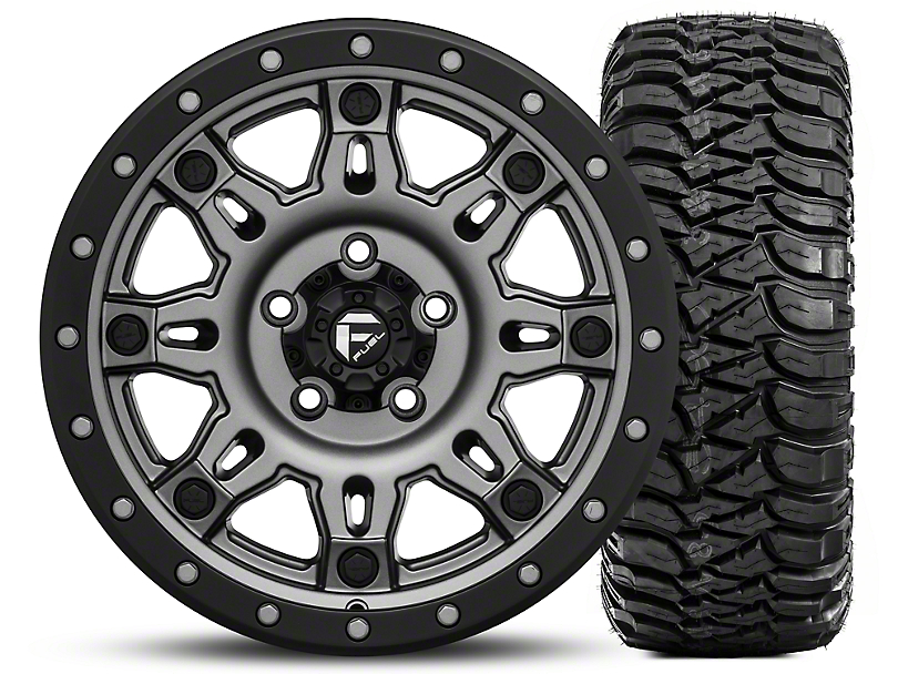 Fuel Wheels Hostage III Gunmetal and Black 17x9 Wheel and Mickey Thompson Baja MTZ Radial with OWL 305/65R17 Tire Kit (07-18 Jeep Wrangler JK)