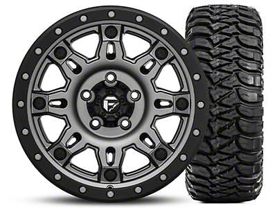 Fuel Wheels Hostage III Gunmetal and Black Wheel 17x9 and Mickey Thompson Baja MTZ Radial Tire w/OWL 305/65-17 Kit (07-18 Jeep Wrangler JK; 2018 Jeep Wrangler JL)