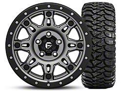 Fuel Wheels Hostage III Gunmetal and Black 17x9 Wheel and Mickey Thompson Baja MTZ Radial with OWL 305/65R17; Set of Five (07-18 Jeep Wrangler JK)