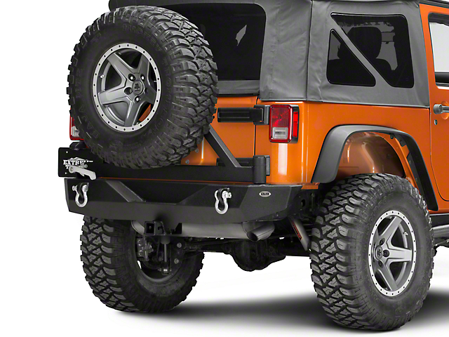 DV8 Off-Road RS-1 Rear Bumper w/ Tire Carrier & Tapered Bearing (07-18 Jeep Wrangler JK)