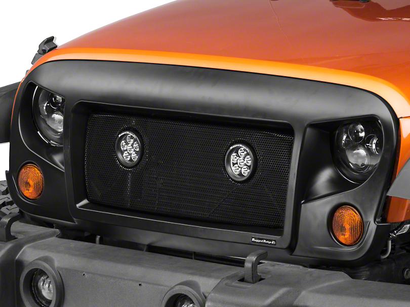 Rugged Ridge Spartan Mesh Grille Insert w/ 3.5 in. LED Lights (07-18 Jeep Wrangler JK)