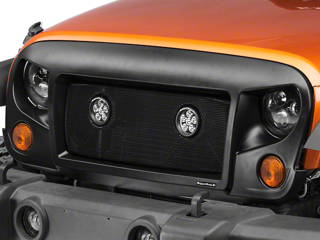 Rugged Ridge Spartan Grille w/ Mesh Insert and Round LED Lights (07-18 Jeep Wrangler JK)