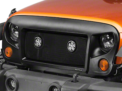 Rugged Ridge Spartan Grille w/ Mesh Insert and Round LED Lights (07-18 Wrangler JK)
