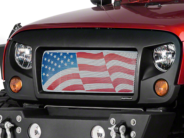 Rugged Ridge Spartan Grille with American Flag Insert; Satin Black (07-18 Jeep Wrangler JK)