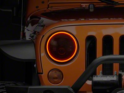 Halo Lights For Jeep Wrangler >> Oracle Led Waterproof Headlight Halo Conversion Kit Amber 07 18 Jeep Wrangler Jk