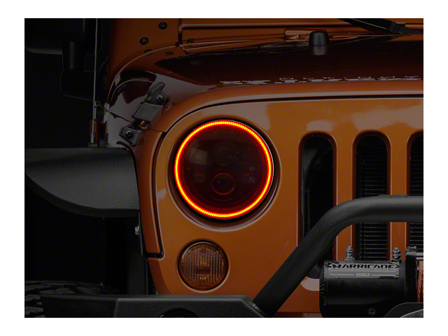 Oracle Waterproof Surface Mount LED Halo Headlight Kit; Amber (07-18 Jeep Wrangler JK)