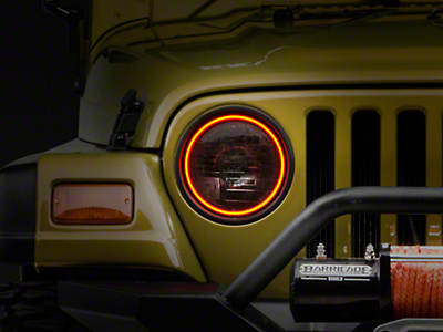 Oracle LED Waterproof Headlight Halo Conversion Kit - Amber (97-06 Wrangler TJ)