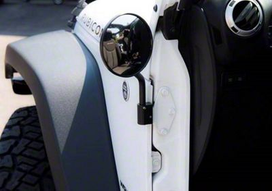 Lange Black Mirror I w/ Delrin Mirror Head - Pair (07-18 Jeep Wrangler JK)