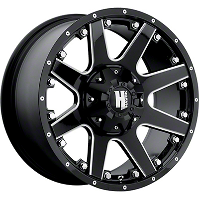 Havok Off-Road H-102 Black Machined Wheel - 17x9 (07-18 Wrangler JK)
