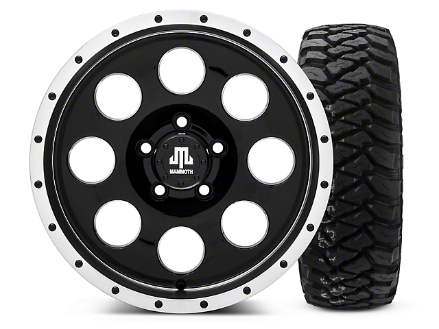 Mammoth 8 Beadlock Style Black 16x8 Wheel & Mickey Thompson Baja MTZP3 285/75R16 Tire Kit (87-06 Wrangler YJ & TJ)