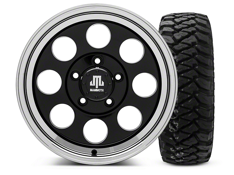 Mammoth 8 Black - 16x8 Wheel - and Mickey Thompson Baja MTZP3 Tire - 285/75R16 (07-18 Wrangler JK)