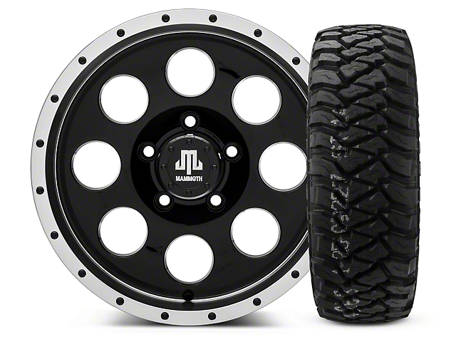 Mammoth 8 Beadlock Style Black - 16x8 Wheel - and Mickey Thompson Baja MTZP3 Tire - 285/75R16 (07-18 Wrangler JK; 2018 Wrangler JL)