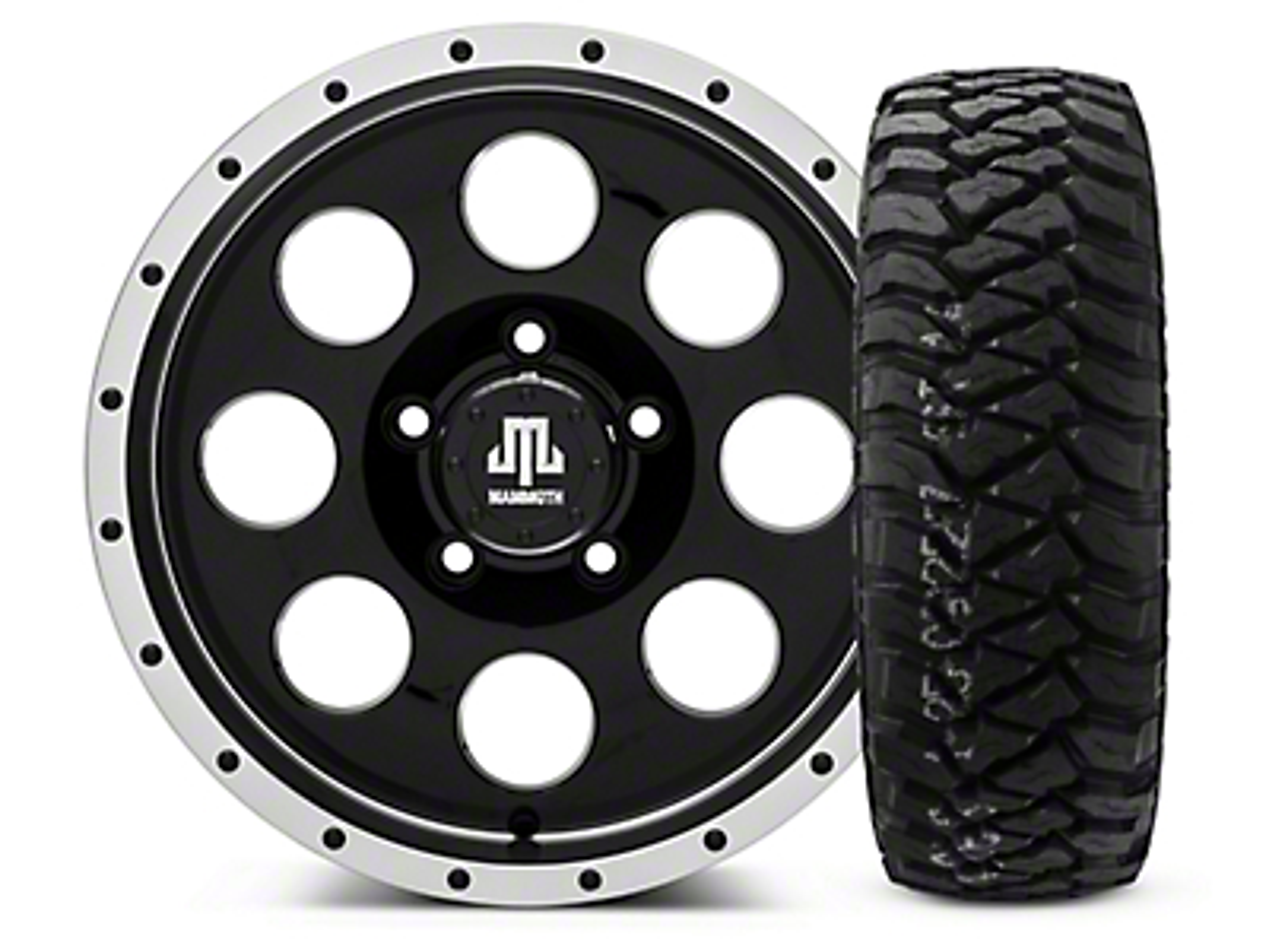 Mammoth 8 Beadlock Style Black - 16x8 Wheel - and Mickey Thompson Baja MTZP3 Tire - 285/75R16 (07-18 Jeep Wrangler JK; 2018 Jeep Wrangler JL)