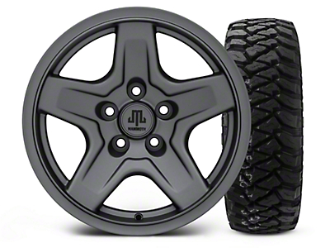 Mammoth Boulder Charcoal 16x8 Wheel & Mickey Thompson Baja MTZP3 285/75R16 Tire Kit (87-06 Jeep Wrangler YJ & TJ)