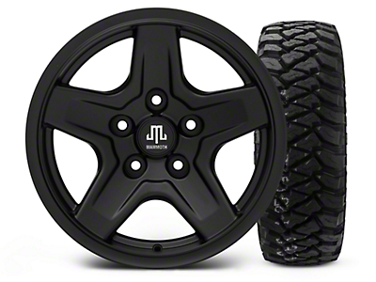 Mammoth Boulder Black - 16x8 Wheel - and Mickey Thompson Baja MTZP3 Tire - 285/75R16 (07-18 Jeep Wrangler JK; 2018 Jeep Wrangler JL)