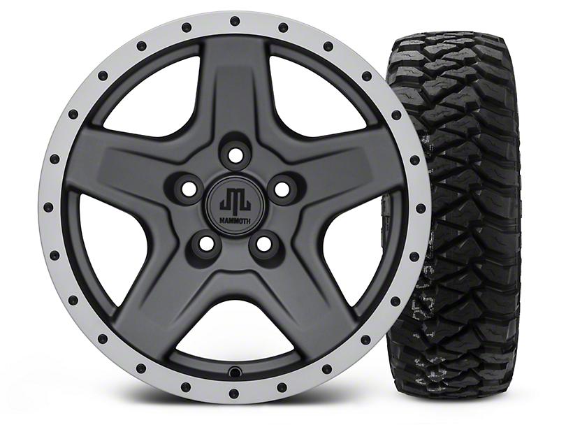 Mammoth Boulder Beadlock Style Charcoal - 16x8 Wheel - and Mickey Thompson Baja MTZP3 Tire - 285/75R16 (87-06 Wrangler YJ & TJ)