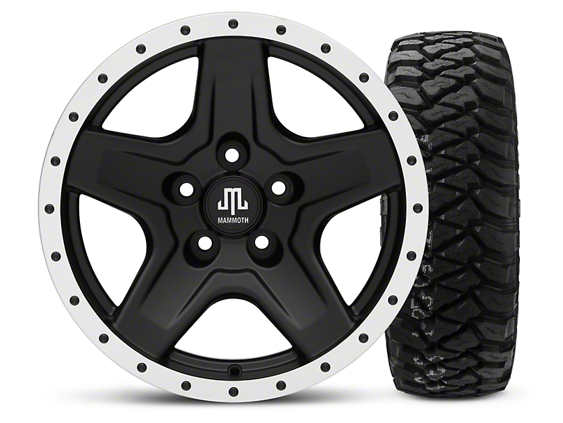 Mammoth Boulder Beadlock Style Black 16x8 Wheel & Mickey Thompson Baja MTZP3 285/75R16 Tire Kit (87-06 Wrangler YJ & TJ)