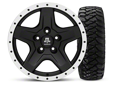 Mammoth Boulder Beadlock Style Black 16x8 Wheel & Mickey Thompson Baja MTZP3 285/75R16 Tire Kit (87-06 Jeep Wrangler YJ & TJ)