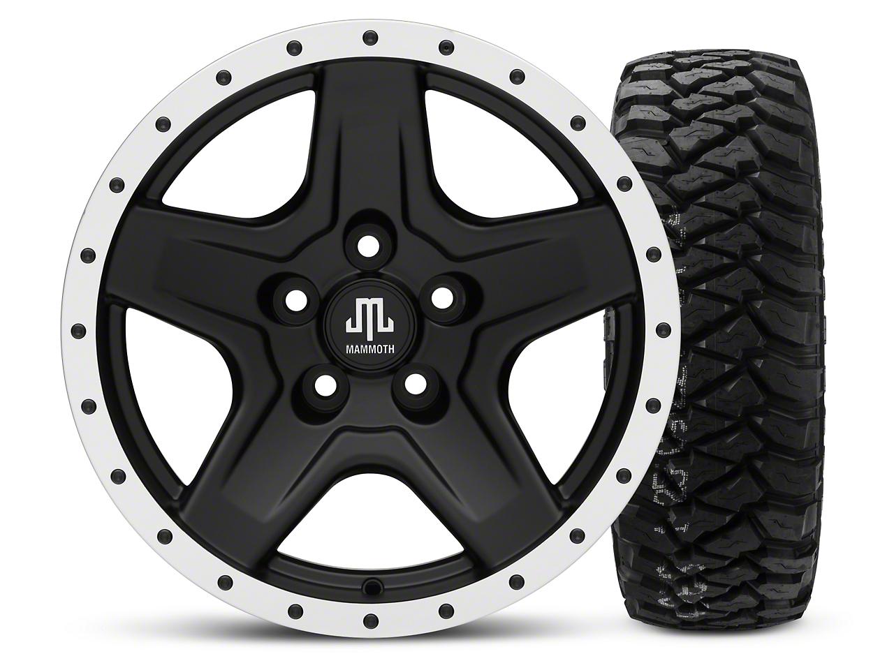 Mammoth Boulder Beadlock Style Black 16x8 Wheel & Mickey Thompson Baja MTZP3 285/75R16 Tire Kit (87-06 Jeep Wrangler YJ & TJ)