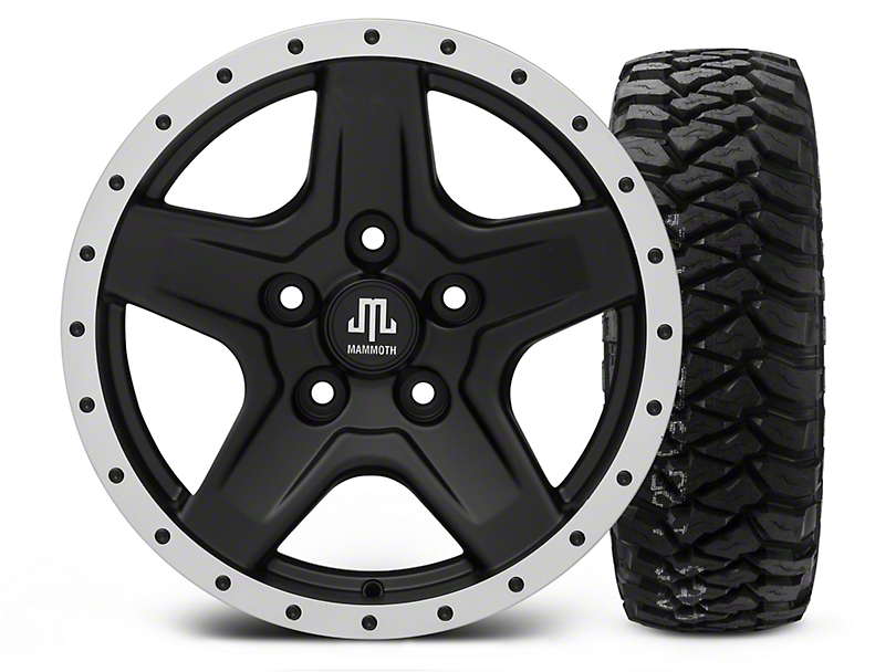 Mammoth Boulder Beadlock Style Black - 16x8 Wheel - and Mickey Thompson Baja MTZP3 Tire - 285/75R16 (07-18 Wrangler JK; 2018 Wrangler JL)