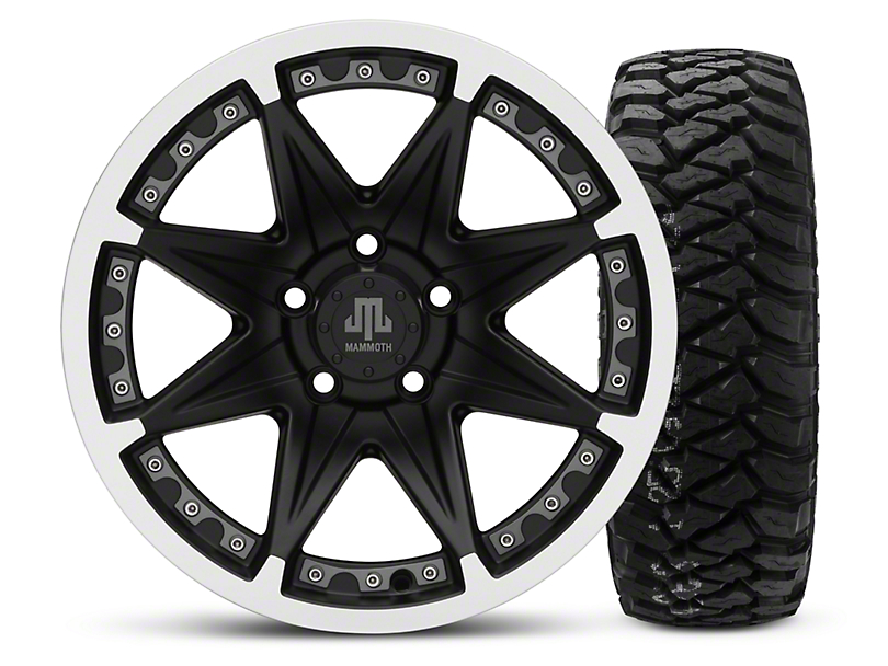 Mammoth Type 88 Black - 16x8 Wheel - and Mickey Thompson Baja MTZP3 Tire - 285/75R16 (87-06 Wrangler YJ & TJ)