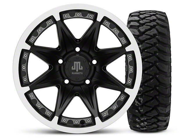 Mammoth Type 88 Black - 16x8 Wheel - and Mickey Thompson Baja MTZP3 Tire - 285/75R16 (07-18 Wrangler JK; 2018 Wrangler JL)