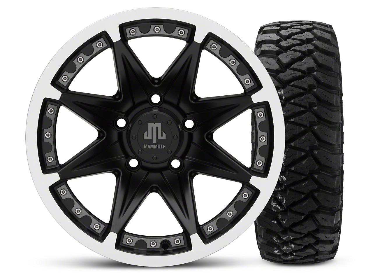 Mammoth Type 88 Black - 16x8 Wheel - and Mickey Thompson Baja MTZP3 Tire - 285/75R16 (07-18 Jeep Wrangler JK; 2018 Jeep Wrangler JL)