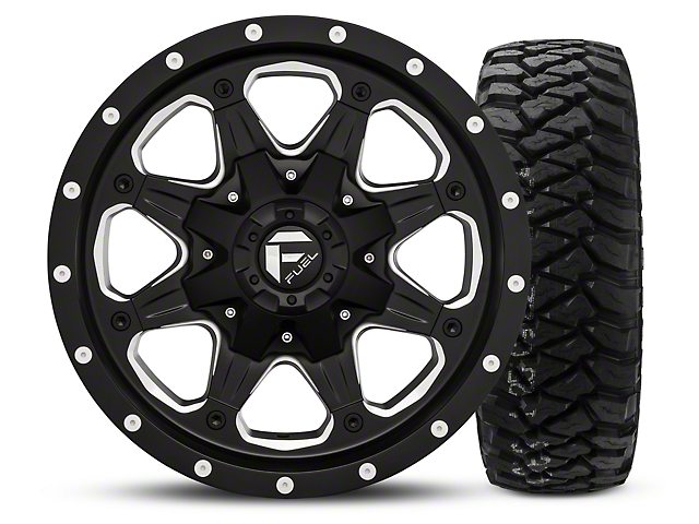 Fuel Wheels Boost; Black/Milled 16x8 Wheel; and Mickey Thompson Baja MTZP3 Tire; 285/75R16 (07-18 Jeep Wrangler JK; 2018 Jeep Wrangler JL)