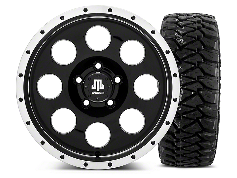 Mammoth 8 Beadlock Style Black - 16x8 Wheel - and Mickey Thompson Baja MTZP3 Tire - 305/70R16 (87-06 Wrangler YJ & TJ)