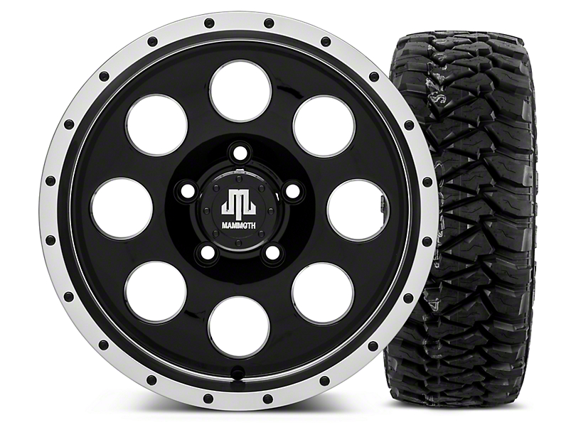Mammoth 8 Beadlock Style Black - 16x8 Wheel - and Mickey Thompson Baja MTZP3 Tire - 305/70R16 (07-18 Jeep Wrangler JK; 2018 Jeep Wrangler JL)