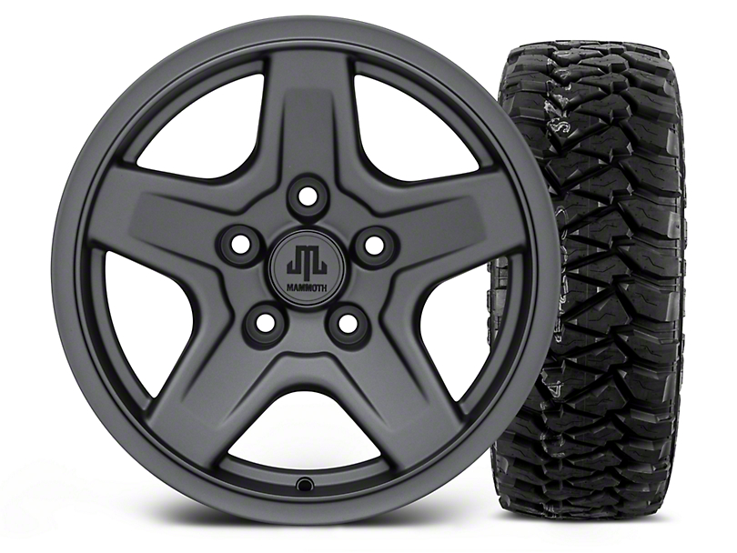 Mammoth Boulder Charcoal - 16x8 Wheel - and Mickey Thompson Baja MTZP3 Tire - 305/70R16 (07-18 Jeep Wrangler JK; 2018 Jeep Wrangler JL)