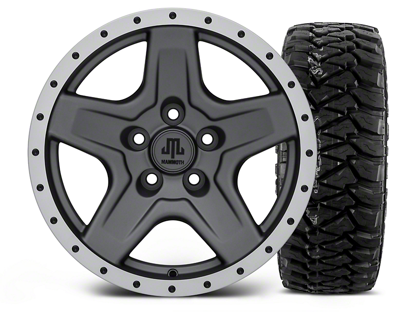Mammoth Boulder Beadlock Style Charcoal 16x8 Wheel & Mickey Thompson Baja MTZP3 305/70R16 Tire Kit (87-06 Wrangler YJ & TJ)