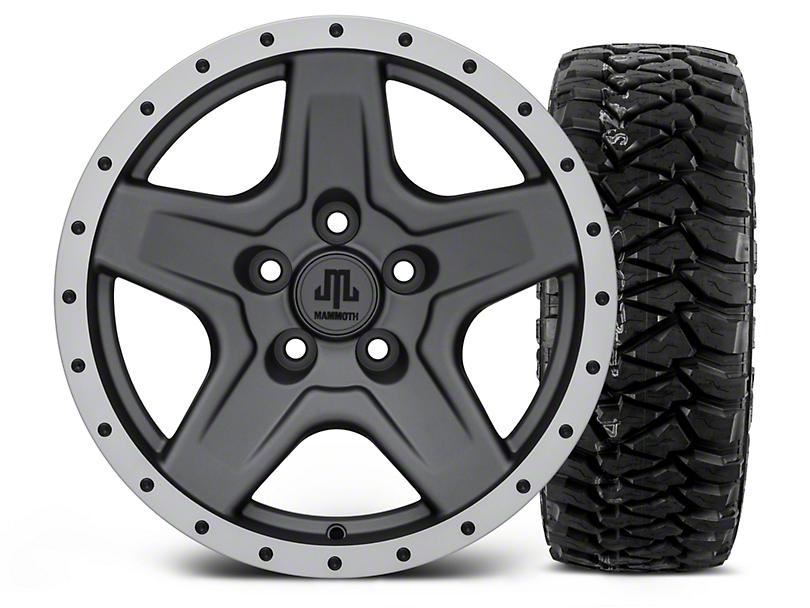 Mammoth Boulder Beadlock Style Charcoal - 16x8 Wheel - and Mickey Thompson Baja MTZP3 Tire - 305/70R16 (87-06 Wrangler YJ & TJ)