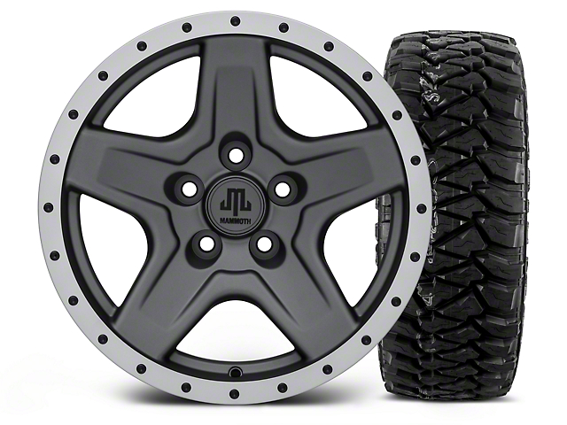 Mammoth Boulder Beadlock Style Charcoal 16x8 Wheel & Mickey Thompson Baja MTZP3 305/70R16 Tire Kit (87-06 Jeep Wrangler YJ & TJ)