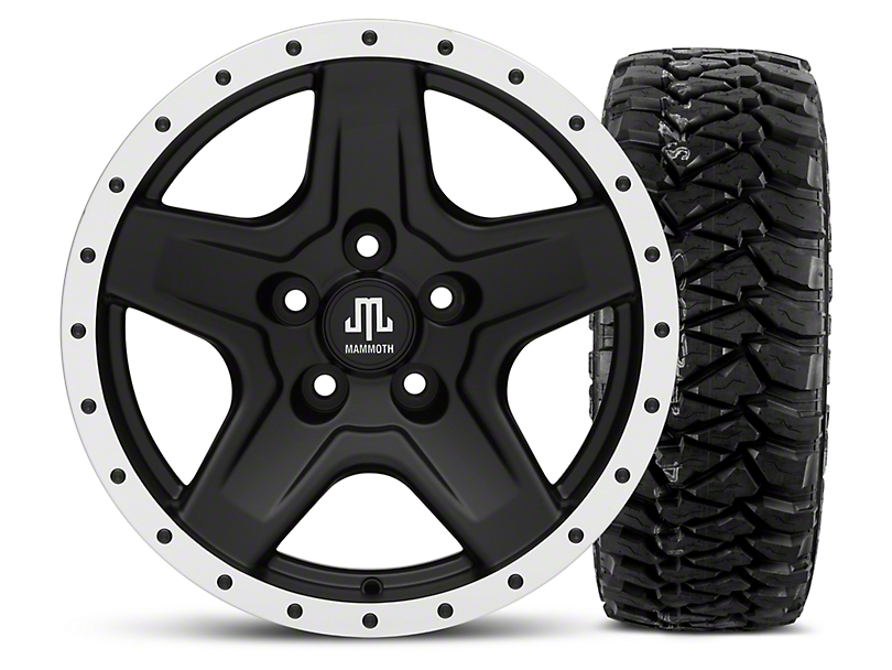 Mammoth Boulder Beadlock Style Black - 16x8 Wheel - and Mickey Thompson Baja MTZP3 Tire - 305/70R16 (87-06 Wrangler YJ & TJ)